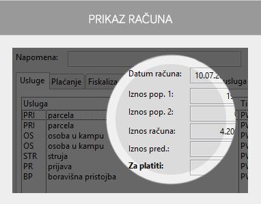 miniREC - prikaz računa